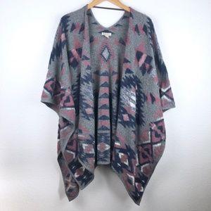 Lucky Brand aztec kimono ruana wrap poncho
